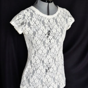 LUSH Top Blouse Floral Lace Back Zipper Cream Cap